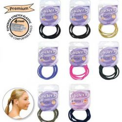 gliders ponytail holder metal  free black 4 pc